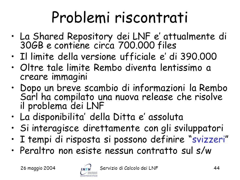 26 maggio 2004Servizio di Calcolo dei LNF44 Problemi riscontrati La Shared Repository dei LNF e attualmente di 30GB e contiene circa 700.000 files Il