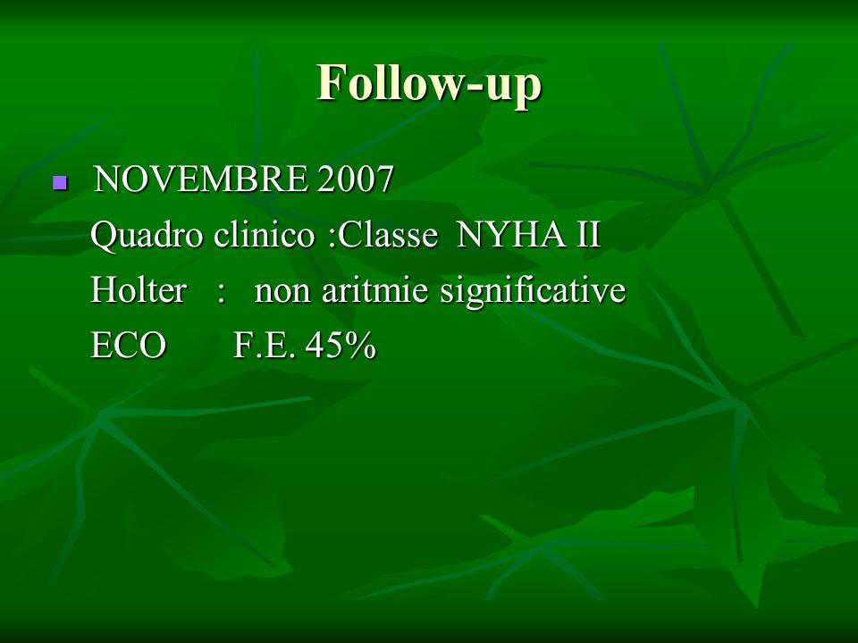 Follow-up NOVEMBRE 2007 NOVEMBRE 2007 Quadro clinico :Classe NYHA II Quadro clinico :Classe NYHA II Holter : non aritmie significative Holter : non ar