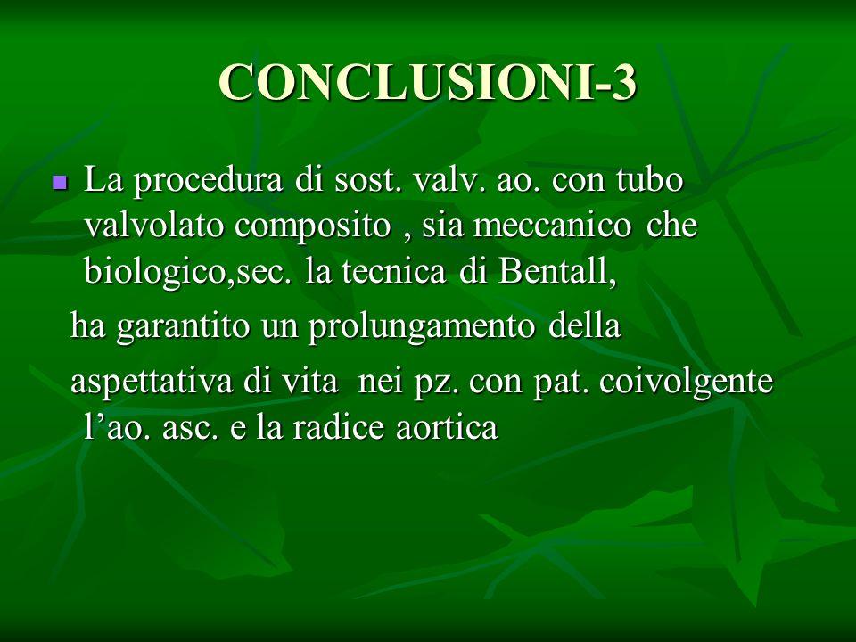 CONCLUSIONI-3 La procedura di sost. valv. ao. con tubo valvolato composito, sia meccanico che biologico,sec. la tecnica di Bentall, La procedura di so