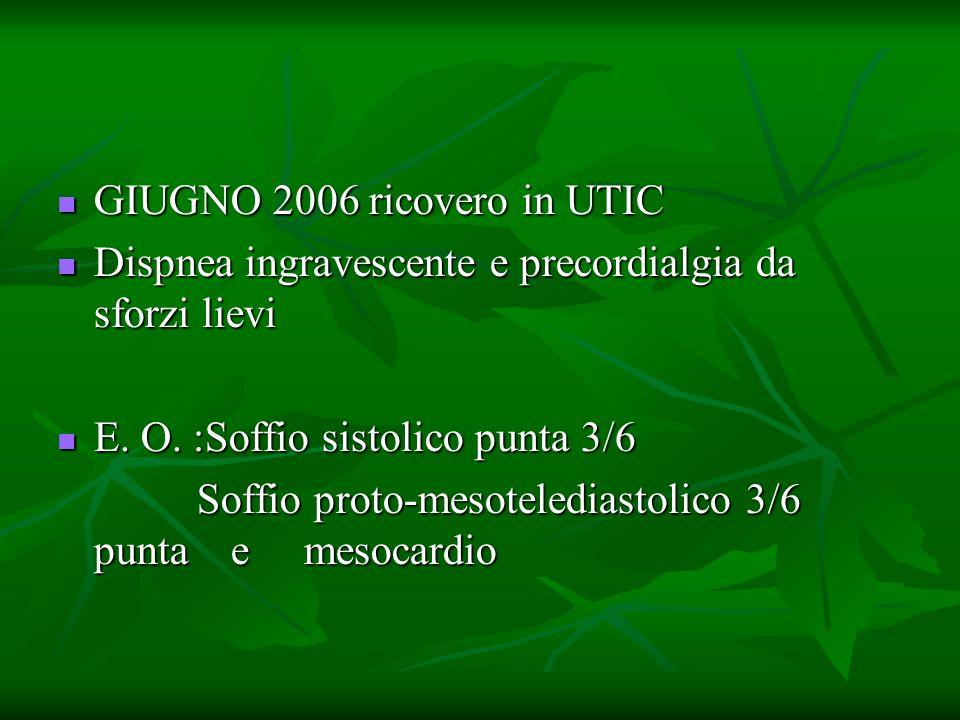 GIUGNO 2006 ricovero in UTIC GIUGNO 2006 ricovero in UTIC Dispnea ingravescente e precordialgia da sforzi lievi Dispnea ingravescente e precordialgia