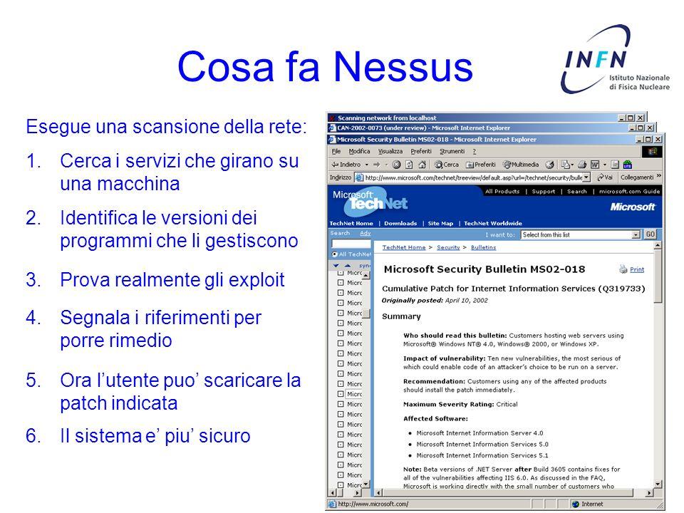 Cosa fa Nessus Esegue una scansione della rete: 1.Cerca i servizi che girano su una macchina 2.Identifica le versioni dei programmi che li gestiscono