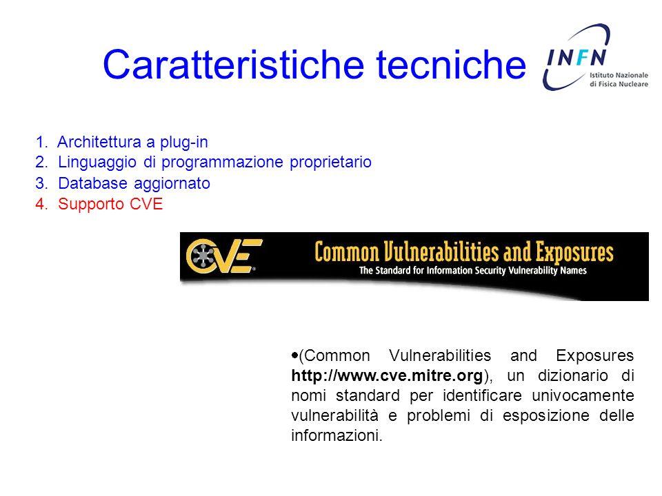 Caratteristiche tecniche 3. Database aggiornato 4. Supporto CVE 1. Architettura a plug-in 2. Linguaggio di programmazione proprietario (Common Vulnera
