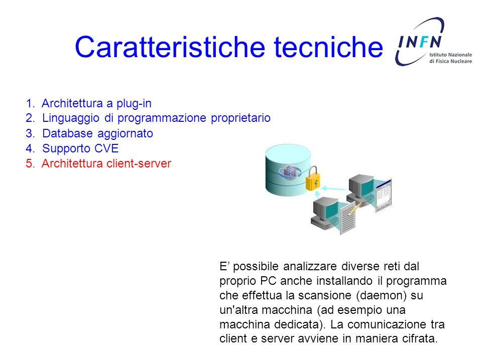 Caratteristiche tecniche 3. Database aggiornato 4. Supporto CVE 5. Architettura client-server 1. Architettura a plug-in 2. Linguaggio di programmazion