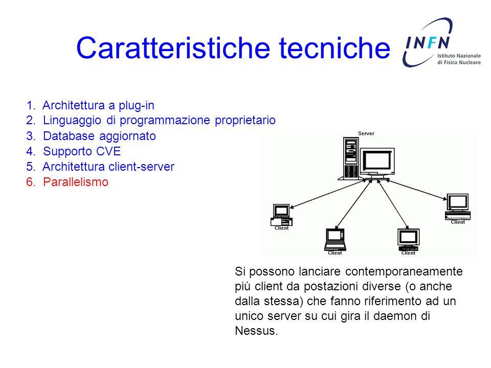 Caratteristiche tecniche 3. Database aggiornato 4. Supporto CVE 5. Architettura client-server 6. Parallelismo 1. Architettura a plug-in 2. Linguaggio