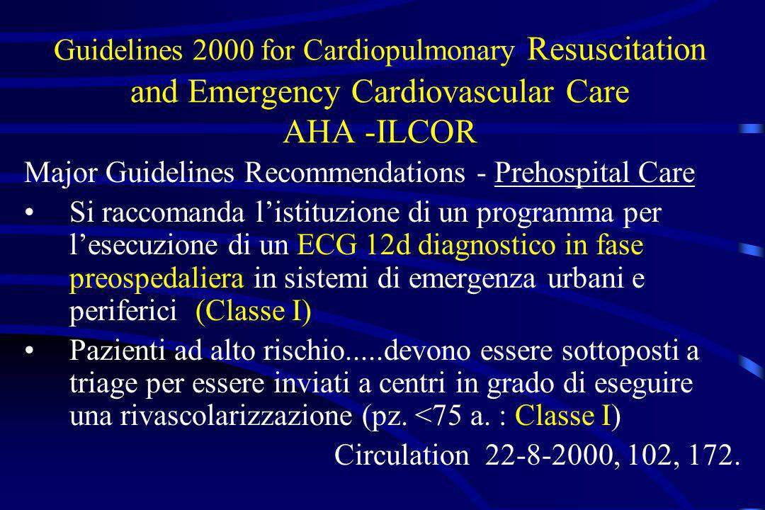 Guidelines 2000 for Cardiopulmonary Resuscitation and Emergency Cardiovascular Care AHA -ILCOR Major Guidelines Recommendations - Prehospital Care Si