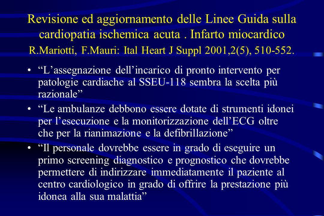Revisione ed aggiornamento delle Linee Guida sulla cardiopatia ischemica acuta. Infarto miocardico R.Mariotti, F.Mauri: Ital Heart J Suppl 2001,2(5),