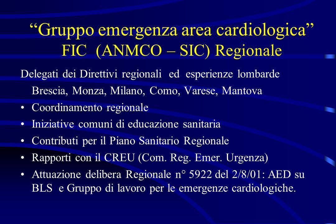 Gruppo emergenza area cardiologica FIC (ANMCO – SIC) Regionale Delegati dei Direttivi regionali ed esperienze lombarde Brescia, Monza, Milano, Como, V