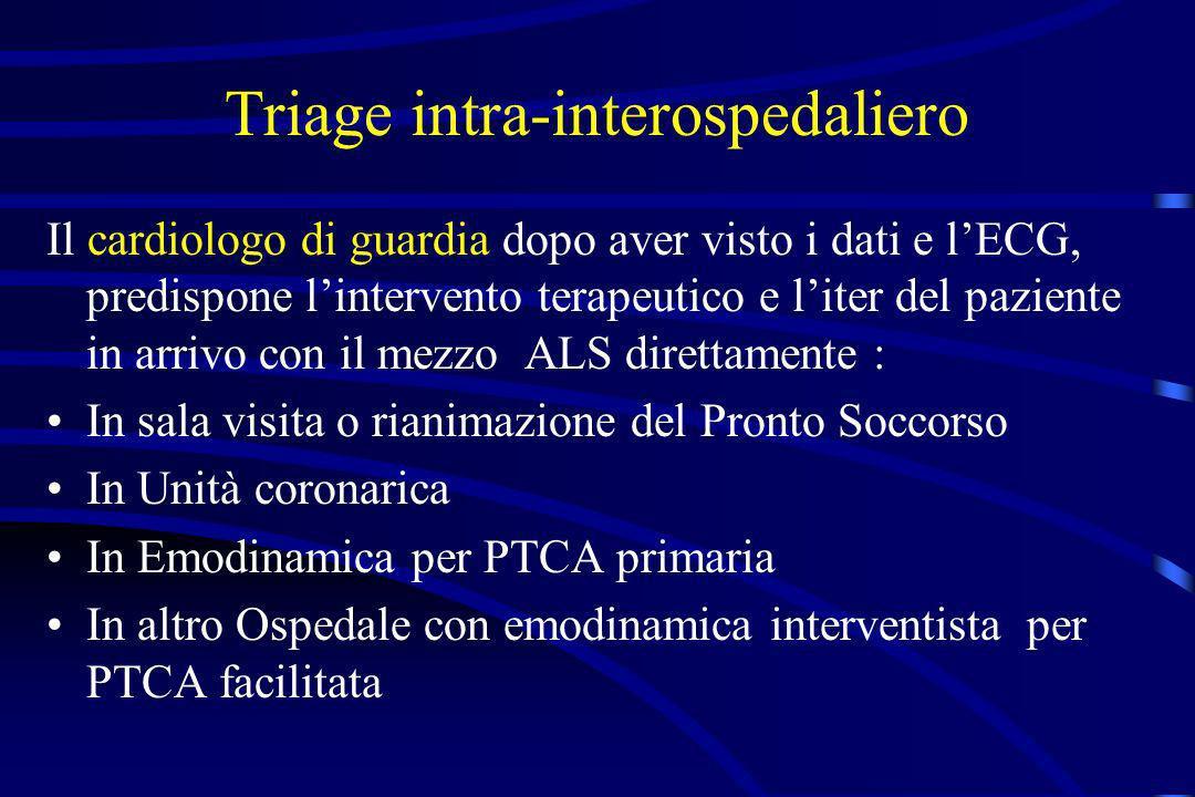 Triage intra-interospedaliero Il cardiologo di guardia dopo aver visto i dati e lECG, predispone lintervento terapeutico e liter del paziente in arriv