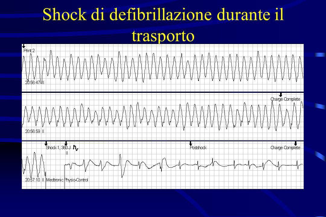 Shock di defibrillazione durante il trasporto