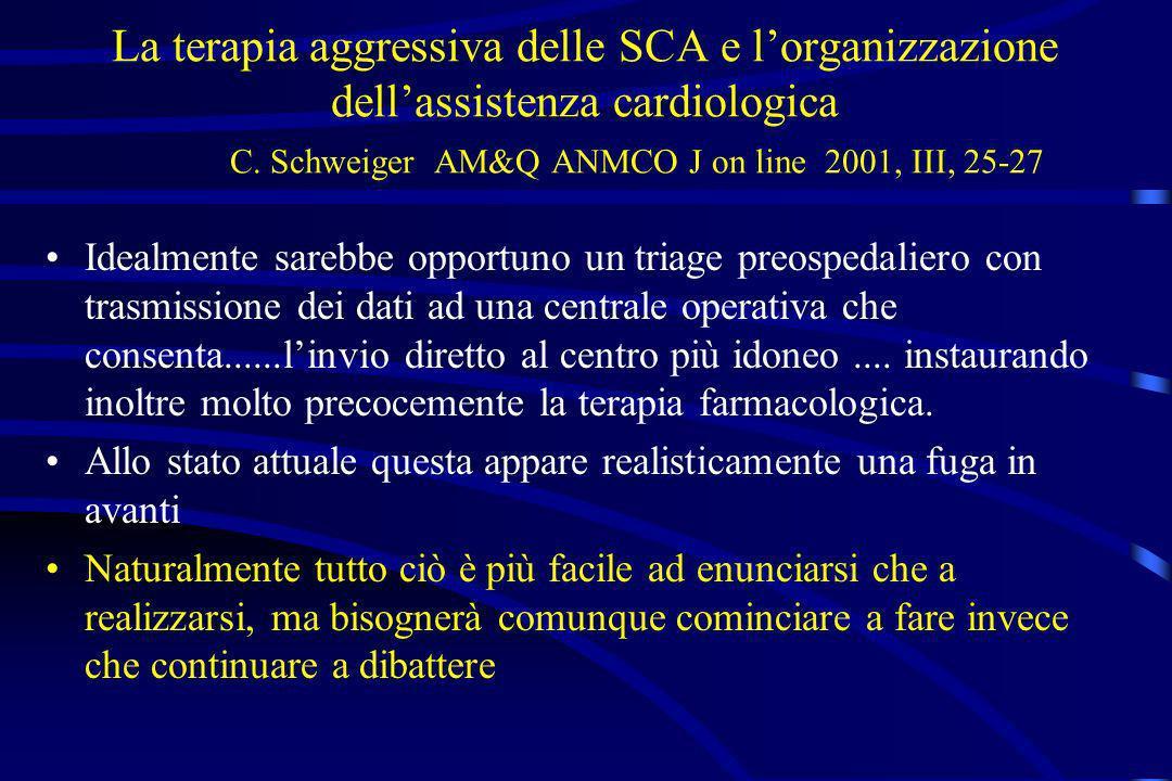 La terapia aggressiva delle SCA e lorganizzazione dellassistenza cardiologica C. Schweiger AM&Q ANMCO J on line 2001, III, 25-27 Idealmente sarebbe op