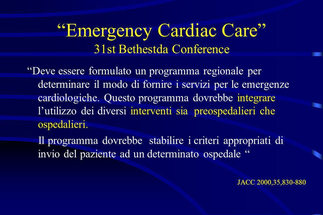 Emergency Cardiac Care 31st Bethestda Conference Deve essere formulato un programma regionale per determinare il modo di fornire i servizi per le emer