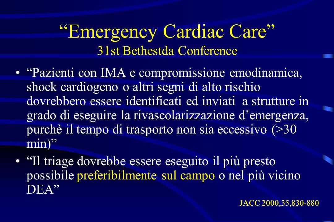 Emergency Cardiac Care 31st Bethestda Conference Pazienti con IMA e compromissione emodinamica, shock cardiogeno o altri segni di alto rischio dovrebb