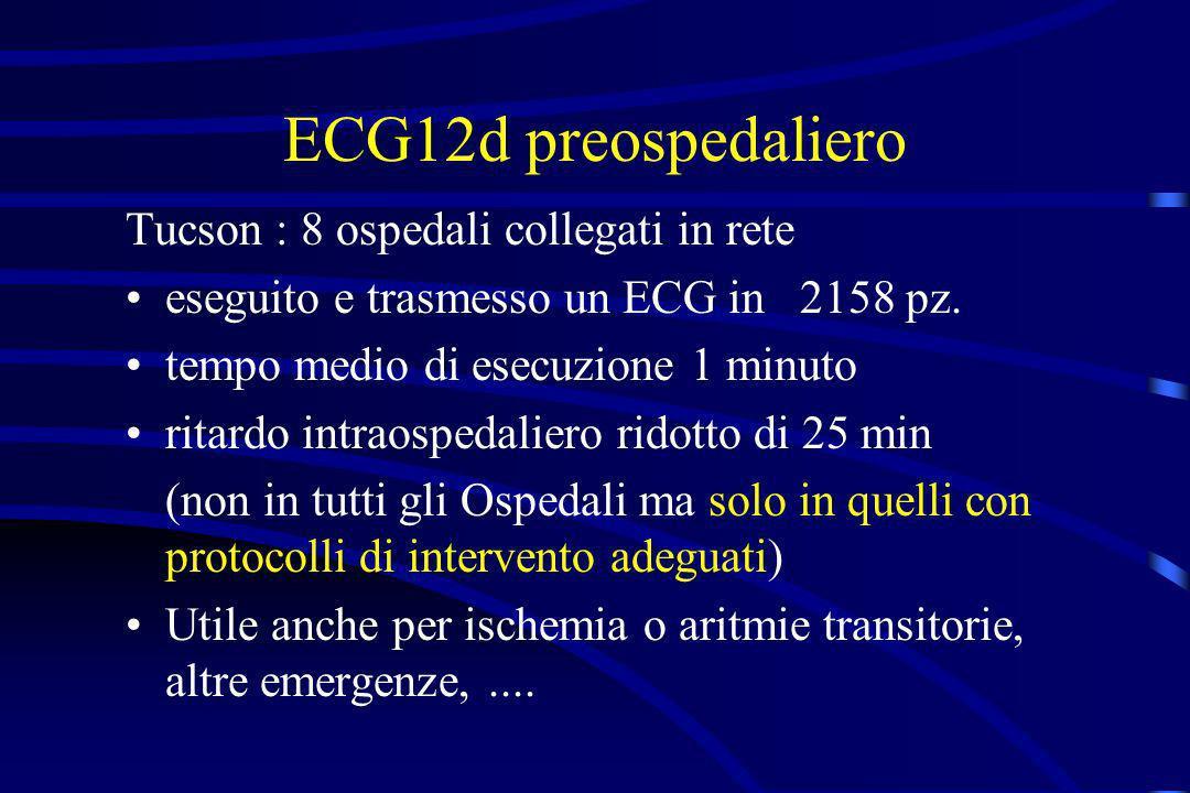 ECG12d preospedaliero Tucson : 8 ospedali collegati in rete eseguito e trasmesso un ECG in 2158 pz. tempo medio di esecuzione 1 minuto ritardo intraos