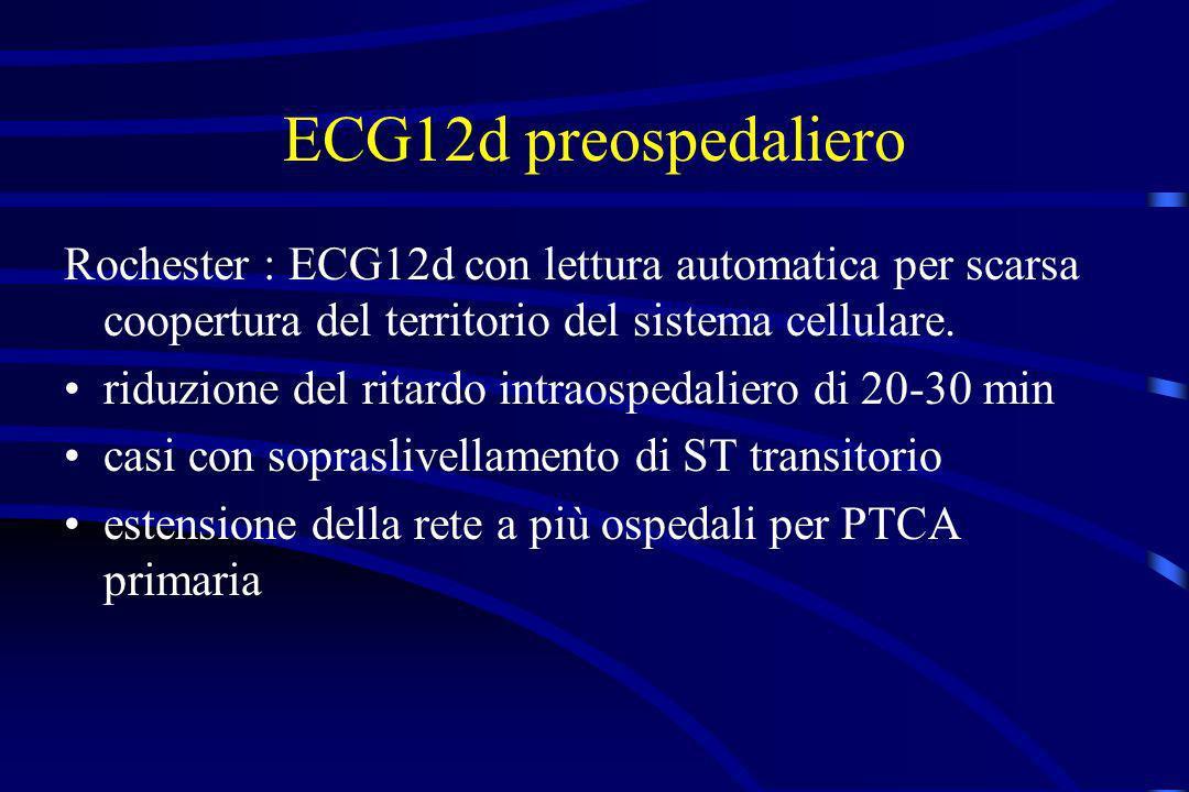 ECG12d preospedaliero Rochester : ECG12d con lettura automatica per scarsa coopertura del territorio del sistema cellulare. riduzione del ritardo intr