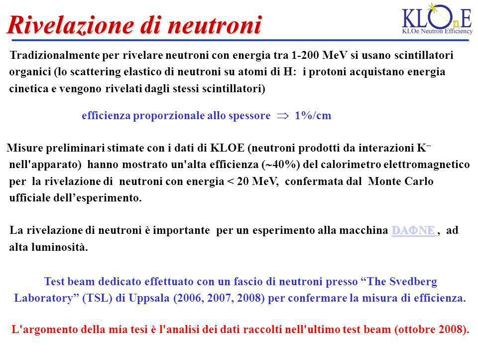 Rivelazione di neutroni Tradizionalmente per rivelare neutroni con energia tra 1-200 MeV si usano scintillatori organici (lo scattering elastico di ne
