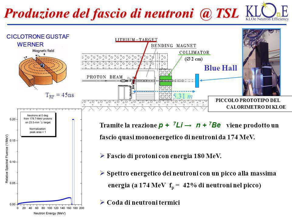 Rivelatore utilizzato @ TSL Rivelatore utilizzato @ TSL Piccolo prototipo di KLOE : - LxHxS = (65x13x24) cm 3 - lettura da entrambe le facce (side A, side B) tramite PMTs conPMTs diametro 1, 1/8 - celle 3 5 (4.2 cm 4.2 cm) Reference counter : NE110; spessore 5 cm ; area 10 20 cm 2 letto da entrambi i lati Display degli eventi Le celle colorate indicano le celle colpite dal passaggio della particella.