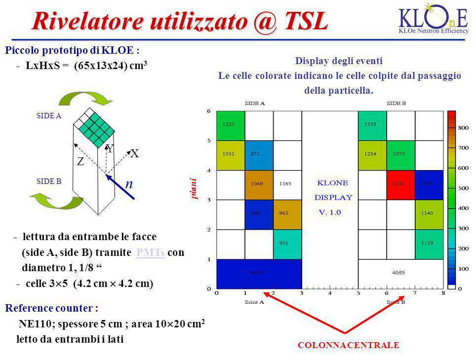 Rivelatore utilizzato @ TSL Rivelatore utilizzato @ TSL Piccolo prototipo di KLOE : - LxHxS = (65x13x24) cm 3 - lettura da entrambe le facce (side A,