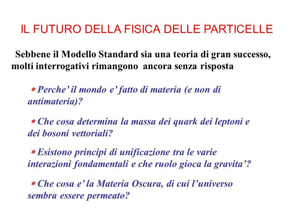 IL FUTURO DELLA FISICA DELLE PARTICELLE Sebbene il Modello Standard sia una teoria di gran successo, molti interrogativi rimangono ancora senza risposta Perche il mondo e fatto di materia (e non di antimateria).