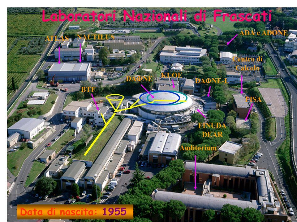 NAUTILUS ATLAS Auditorium ADA e ADONE KLOE DA NE Centro di Calcolo FISA BTF DA NE-L FINUDA DEAR Laboratori Nazionali di Frascati Data di nascita: 1955