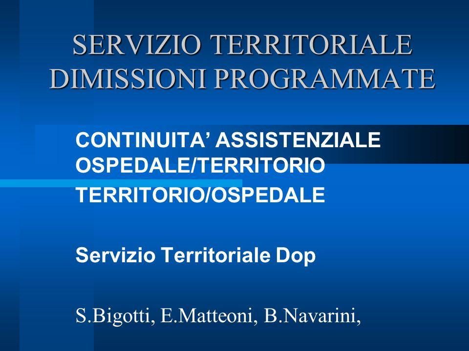 SERVIZIO TERRITORIALE DIMISSIONI PROGRAMMATE CONTINUITA ASSISTENZIALE OSPEDALE/TERRITORIO TERRITORIO/OSPEDALE Servizio Territoriale Dop S.Bigotti, E.Matteoni, B.Navarini,