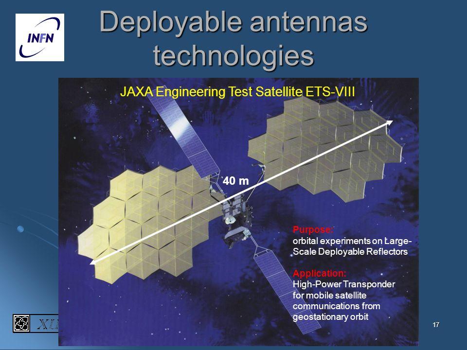 17 Deployable antennas technologies 40 m JAXA Engineering Test Satellite ETS-VIII Purpose: orbital experiments on Large- Scale Deployable Reflectors,