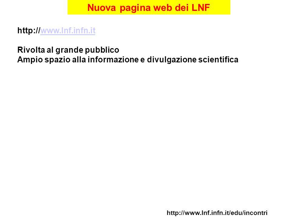 Nuova pagina web dei LNF http://www.lnf.infn.it/edu/incontri http://www.lnf.infn.itwww.lnf.infn.it Rivolta al grande pubblico Ampio spazio alla informazione e divulgazione scientifica
