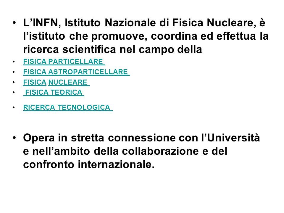 LINFN, Istituto Nazionale di Fisica Nucleare, è listituto che promuove, coordina ed effettua la ricerca scientifica nel campo della FISICA PARTICELLARE FISICA ASTROPARTICELLARE FISICA NUCLEARE FISICANUCLEARE FISICA TEORICA RICERCA TECNOLOGICA Opera in stretta connessione con lUniversità e nellambito della collaborazione e del confronto internazionale.