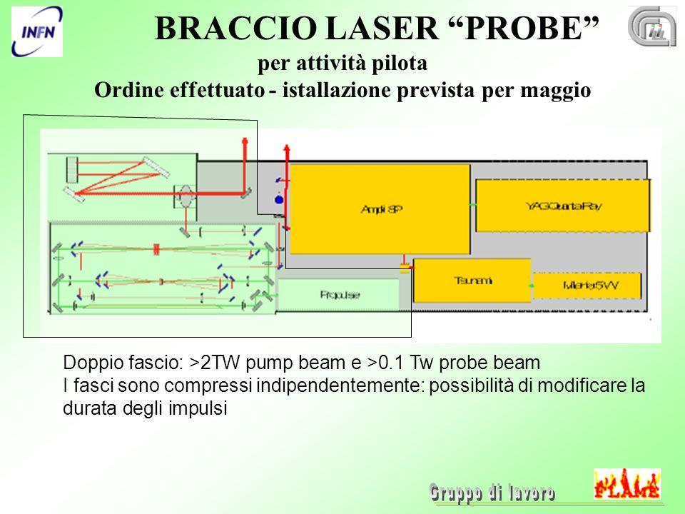 BRACCIO LASER PROBE per attività pilota Ordine effettuato - istallazione prevista per maggio Doppio fascio: >2TW pump beam e >0.1 Tw probe beam I fasci sono compressi indipendentemente: possibilità di modificare la durata degli impulsi