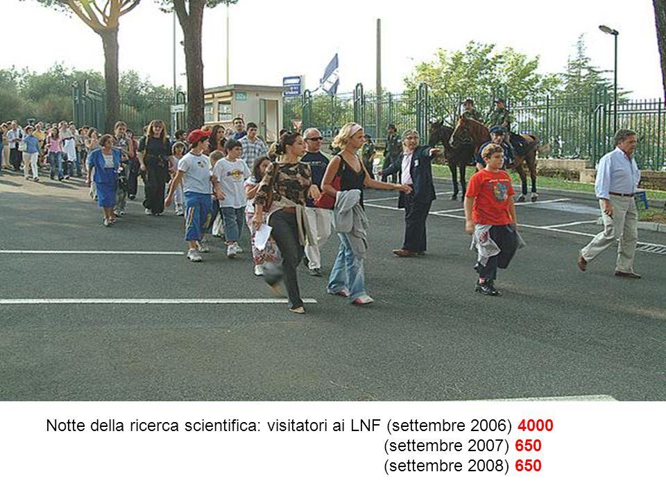 Notte della ricerca scientifica: visitatori ai LNF (settembre 2006) 4000 (settembre 2007) 650 (settembre 2008) 650