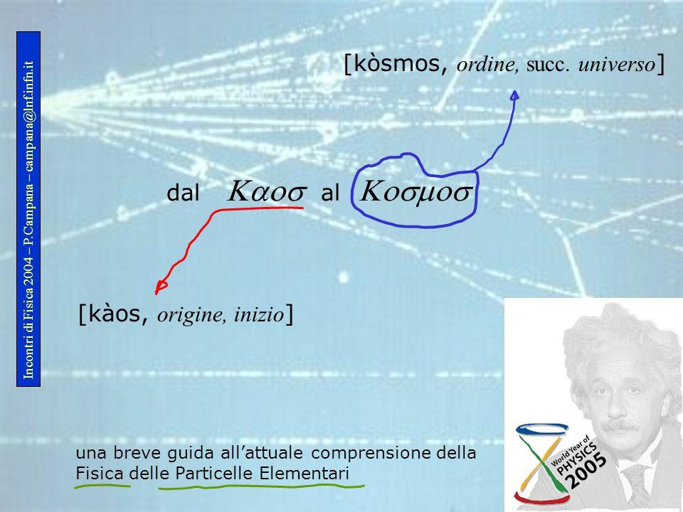 dal al una breve guida allattuale comprensione della Fisica delle Particelle Elementari [kàos, origine, inizio ] [kòsmos, ordine, succ. universo ] Inc