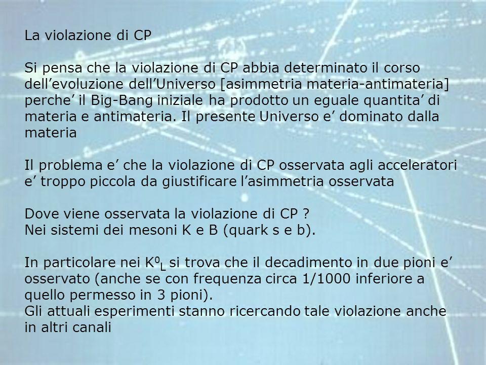 La violazione di CP Si pensa che la violazione di CP abbia determinato il corso dellevoluzione dellUniverso [asimmetria materia-antimateria] perche il