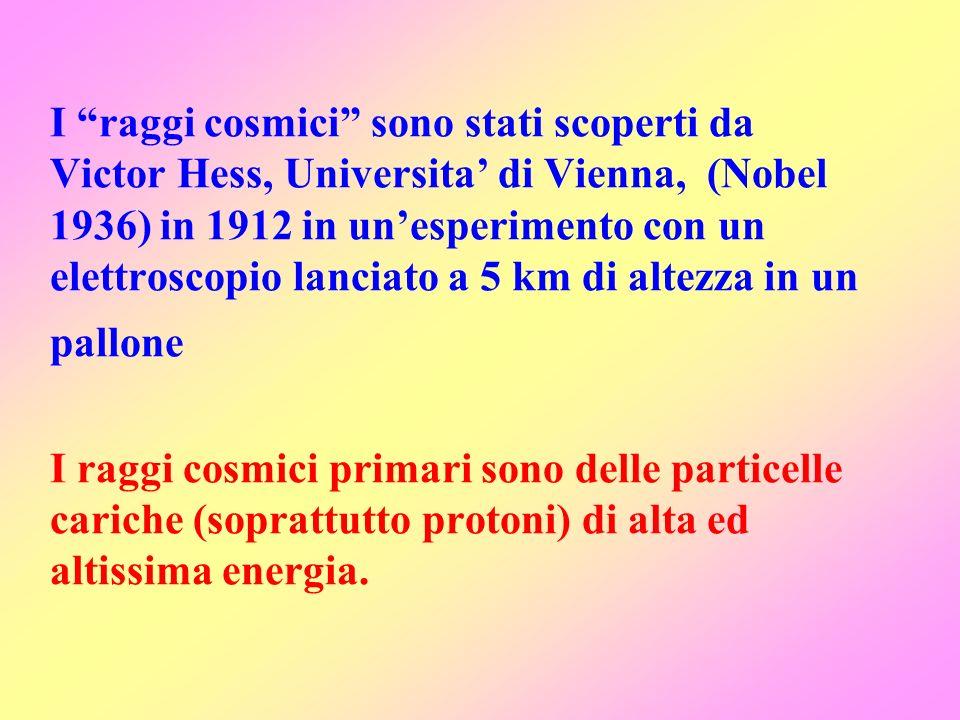 I raggi cosmici sono stati scoperti da Victor Hess, Universita di Vienna, (Nobel 1936) in 1912 in unesperimento con un elettroscopio lanciato a 5 km d