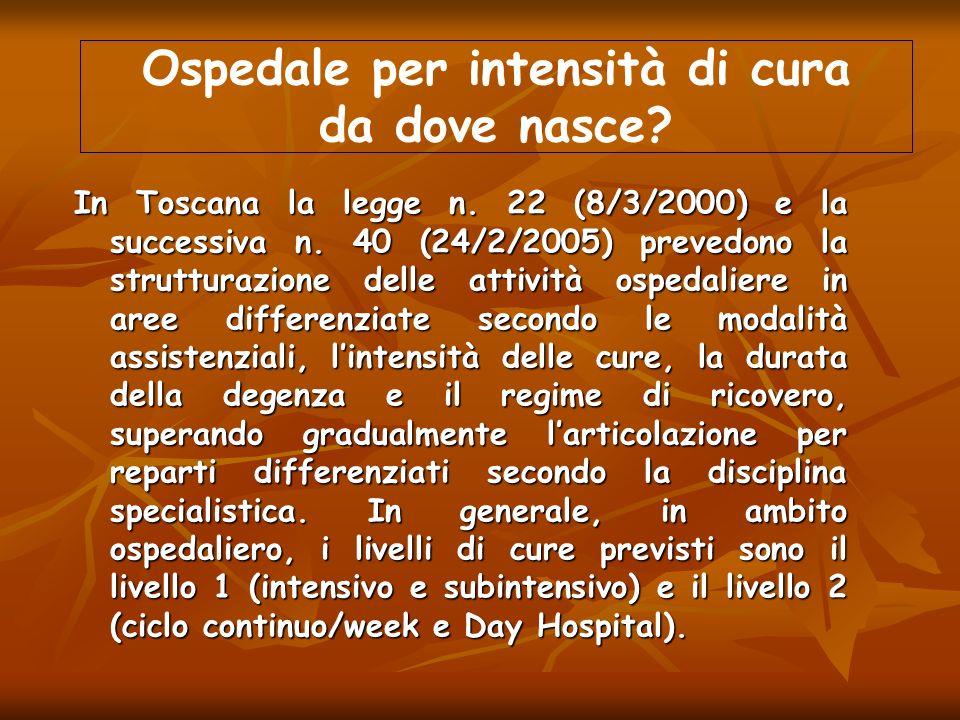 In Toscana la legge n. 22 (8/3/2000) e la successiva n. 40 (24/2/2005) prevedono la strutturazione delle attività ospedaliere in aree differenziate se