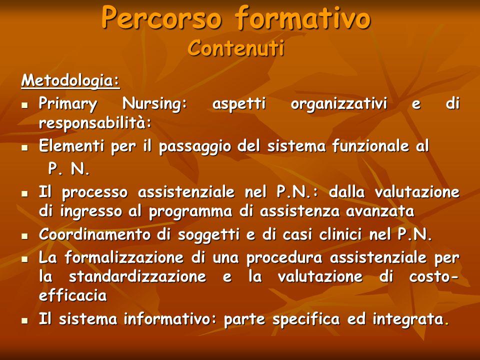 Percorso formativo Contenuti Metodologia: Primary Nursing: aspetti organizzativi e di responsabilità: Primary Nursing: aspetti organizzativi e di resp