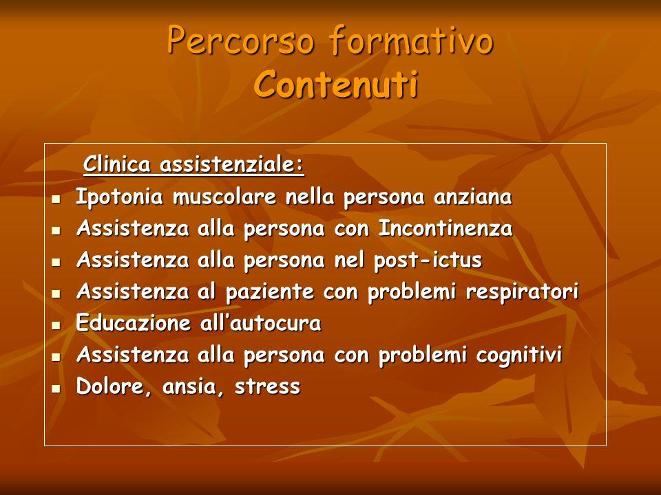 Percorso formativo Contenuti Clinica assistenziale: Clinica assistenziale: Ipotonia muscolare nella persona anziana Ipotonia muscolare nella persona a