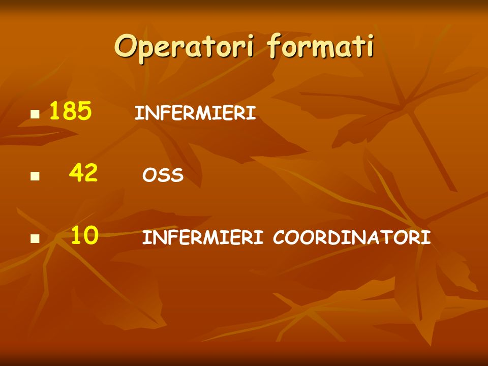 Operatori formati 185 INFERMIERI 42 OSS 10 INFERMIERI COORDINATORI