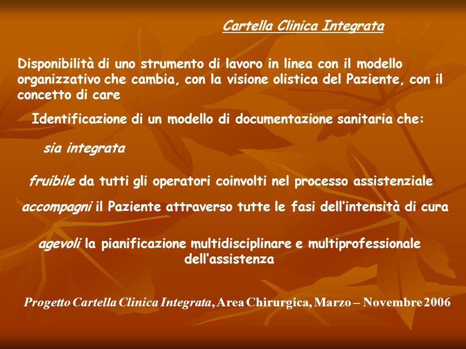 Cartella Clinica Integrata Disponibilità di uno strumento di lavoro in linea con il modello organizzativo che cambia, con la visione olistica del Pazi