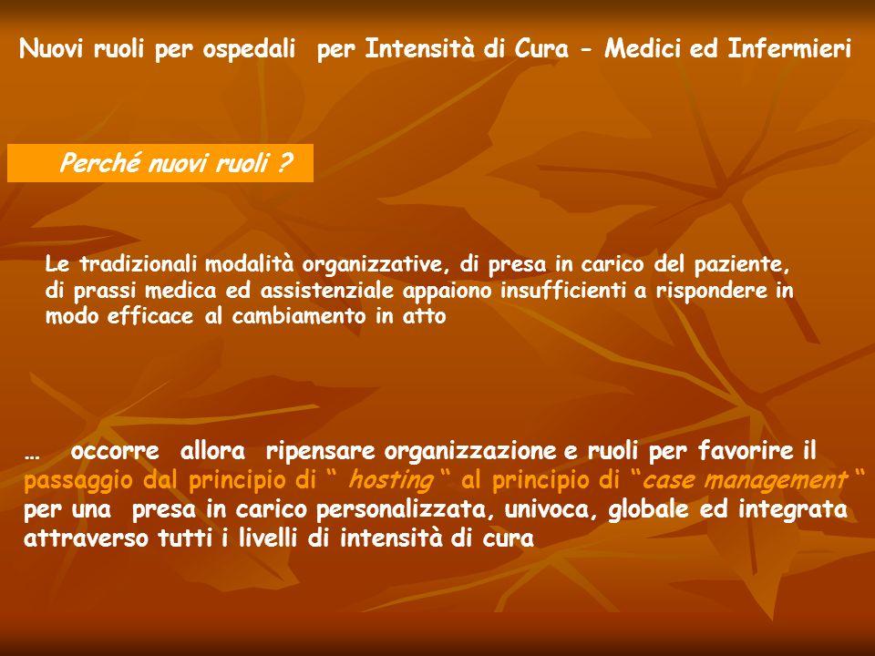 Nuovi ruoli per ospedali per Intensità di Cura - Medici ed Infermieri Perché nuovi ruoli ? Le tradizionali modalità organizzative, di presa in carico