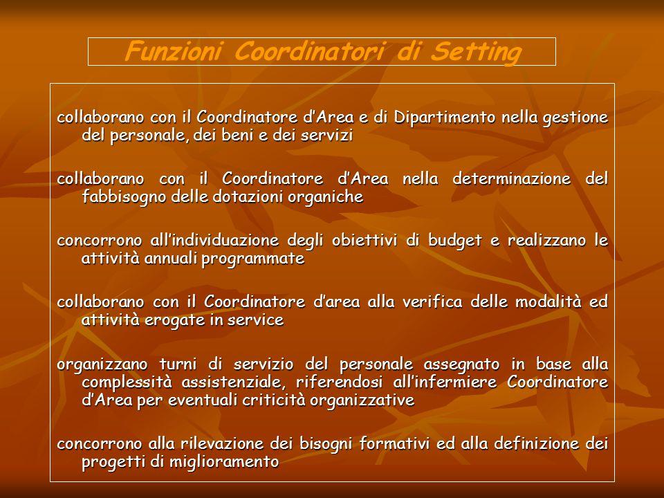 Funzioni Coordinatori di Setting collaborano con il Coordinatore dArea e di Dipartimento nella gestione del personale, dei beni e dei servizi collabor