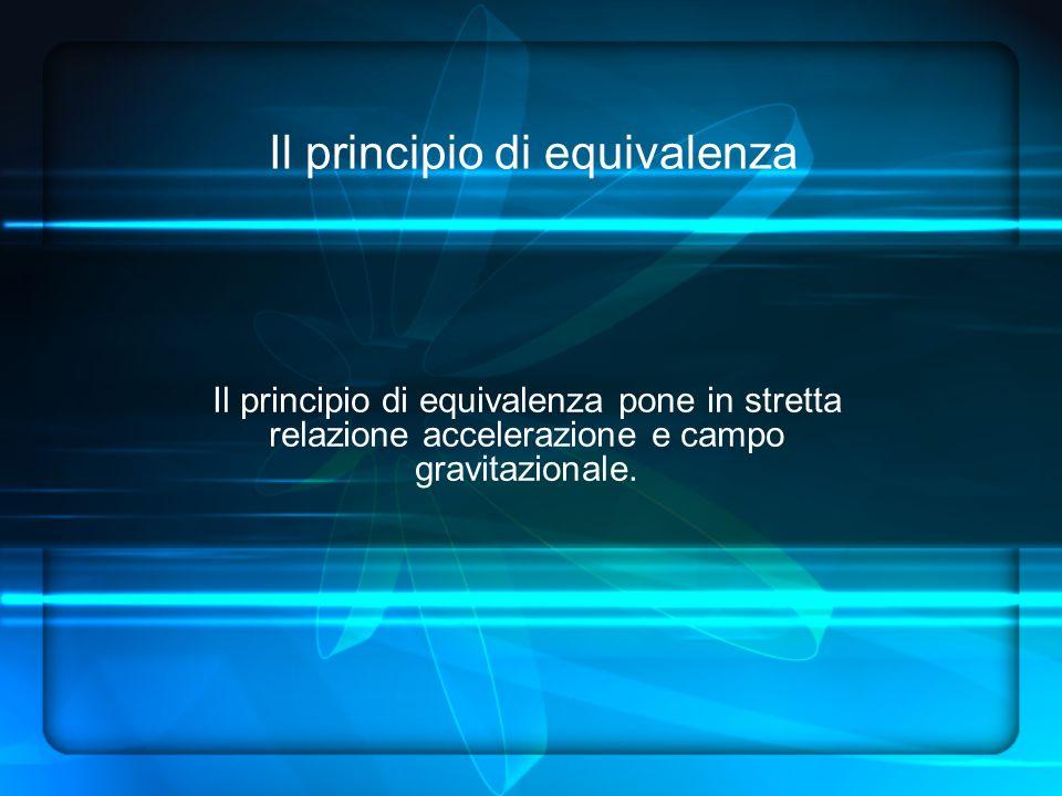 Il principio di equivalenza Il principio di equivalenza pone in stretta relazione accelerazione e campo gravitazionale.