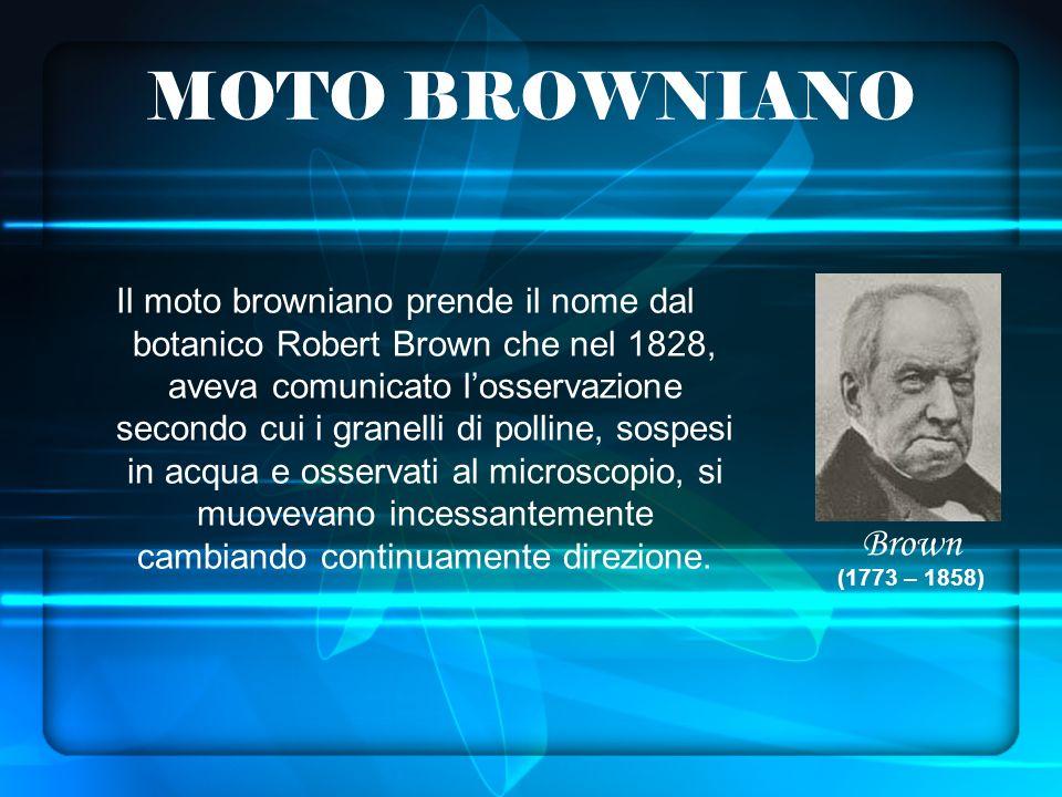 MOTO BROWNIANO Il moto browniano prende il nome dal botanico Robert Brown che nel 1828, aveva comunicato losservazione secondo cui i granelli di polline, sospesi in acqua e osservati al microscopio, si muovevano incessantemente cambiando continuamente direzione.