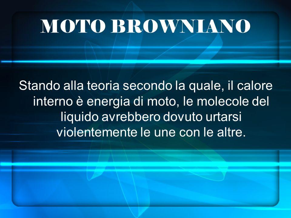MOTO BROWNIANO Stando alla teoria secondo la quale, il calore interno è energia di moto, le molecole del liquido avrebbero dovuto urtarsi violentemente le une con le altre.