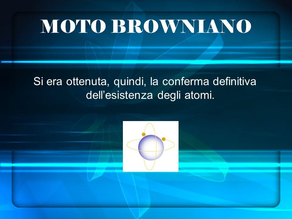 MOTO BROWNIANO Si era ottenuta, quindi, la conferma definitiva dellesistenza degli atomi.