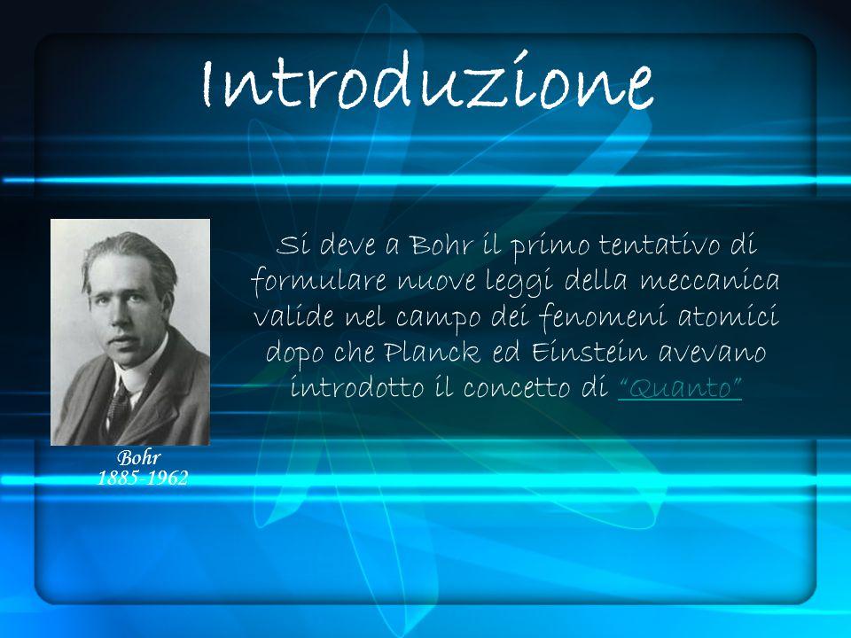 Introduzione Si deve a Bohr il primo tentativo di formulare nuove leggi della meccanica valide nel campo dei fenomeni atomici dopo che Planck ed Einstein avevano introdotto il concetto di QuantoQuanto Bohr 1885-1962