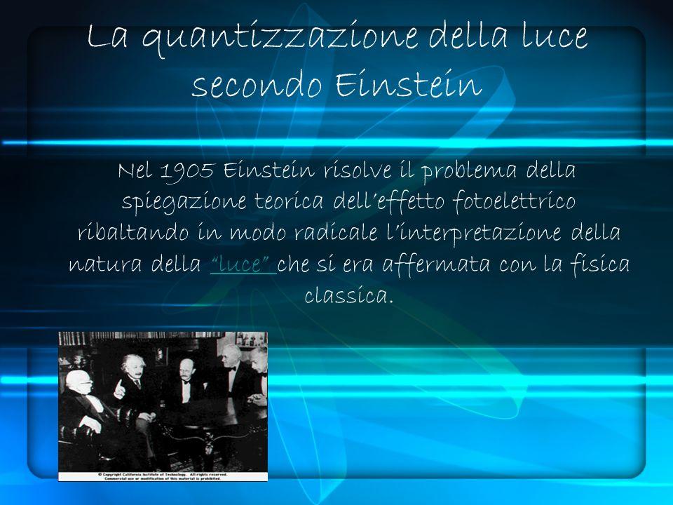 Nel 1905 Einstein risolve il problema della spiegazione teorica delleffetto fotoelettrico ribaltando in modo radicale linterpretazione della natura della luce che si era affermata con la fisica classica.luce