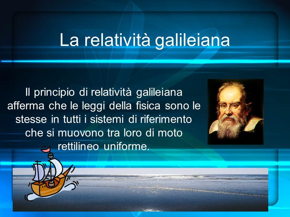 La relatività galileiana Il principio di relatività galileiana afferma che le leggi della fisica sono le stesse in tutti i sistemi di riferimento che si muovono tra loro di moto rettilineo uniforme.