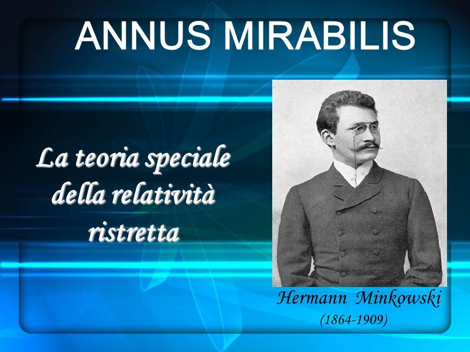 Hermann Minkowski (1864-1909) La teoria speciale della relatività ristretta ANNUS MIRABILIS