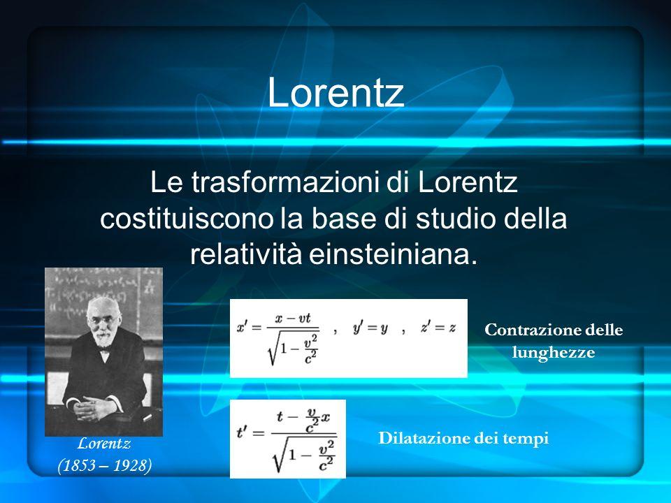 Lorentz Le trasformazioni di Lorentz costituiscono la base di studio della relatività einsteiniana.