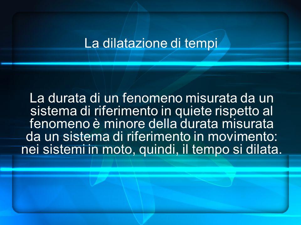 La dilatazione di tempi La durata di un fenomeno misurata da un sistema di riferimento in quiete rispetto al fenomeno è minore della durata misurata da un sistema di riferimento in movimento: nei sistemi in moto, quindi, il tempo si dilata.