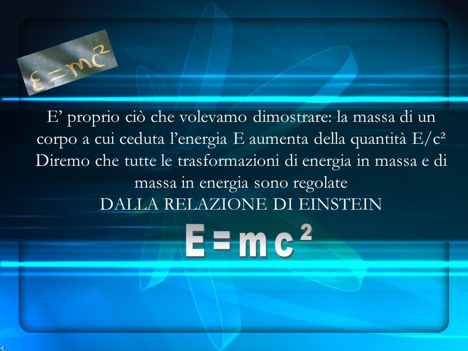 E proprio ciò che volevamo dimostrare: la massa di un corpo a cui ceduta lenergia E aumenta della quantità E/c² Diremo che tutte le trasformazioni di energia in massa e di massa in energia sono regolate DALLA RELAZIONE DI EINSTEIN